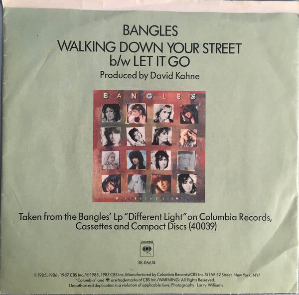 "The Bangles, ""Walking Down Your Street"" Single (1986). Back cover image. Pop, power-pop, from Different Light."
