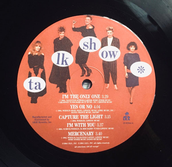 "The Go-Go's, ""Talk Show"" Promo LP (1984). Recover label sticker image. Pop, pop-rock, pop-punk. Rare radio promo copy."