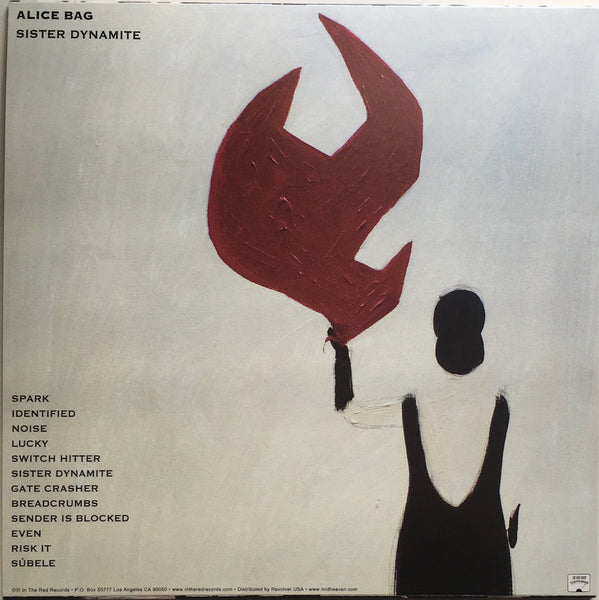 "Alice Bag, ""Sister Dynamite"" LP (2020) back cover artwork and album tracks. In The Red Records. Punk rock."