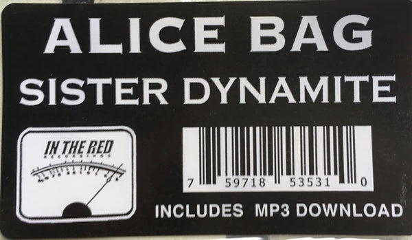 "Alice Bag, ""Sister Dynamite"" LP (2020) cover sticker and UPC. In The Red Records. Punk rock."