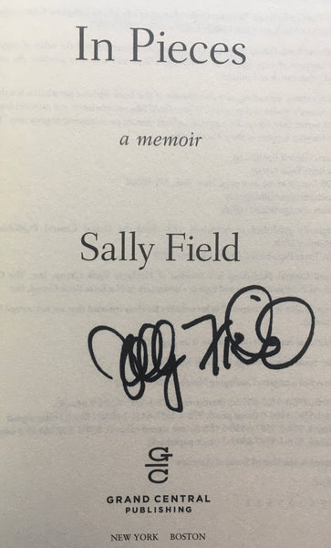 "Sally Field, ""In Pieces"" Autographed Book (2019). Inner title page image. This is the paperback edition of Sally Field's personal memoir."