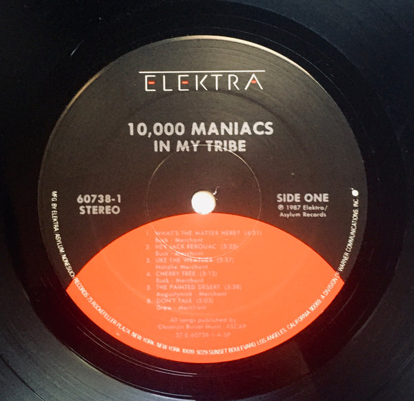"10,000 Maniacs, ""In My Tribe"" LP (1987). Record sticker label image. Nathalie Merchant. Alternative rock."