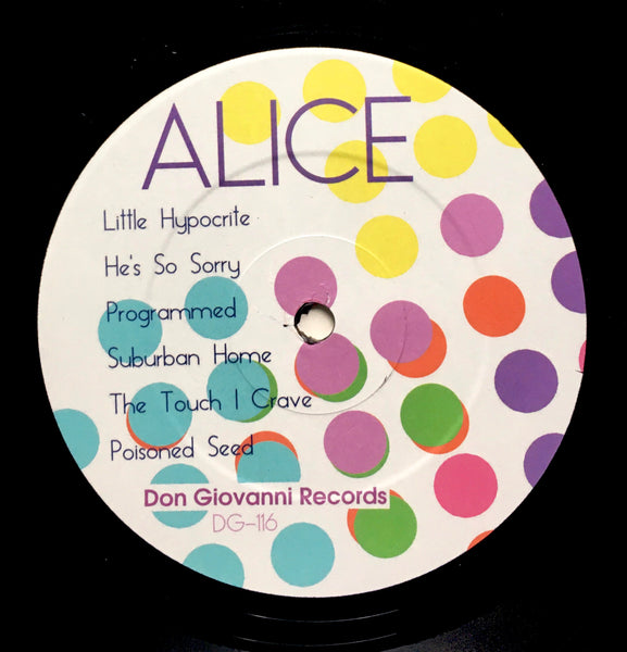 "Alice Bag, ""Alice Bag"" LP (2016). Record label sticker image. Alice Bag's 2016 solo debut for Don Giovanni Records. A great album and a solid introduction to the solo work of punk songwriter Alice Bag."