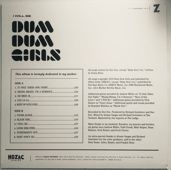"Dum Dum Girls, ""I Will Be"" LP (2010). Back cover image. This is the first pressing of DDG debut LP, ""I Will Be"" on black vinyl."