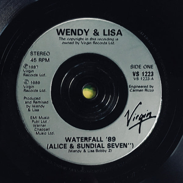 "Wendy & Lisa ""Waterfall '89"" Remix Single (1989). Silver-injection record label image. Dance, electronic, pop."