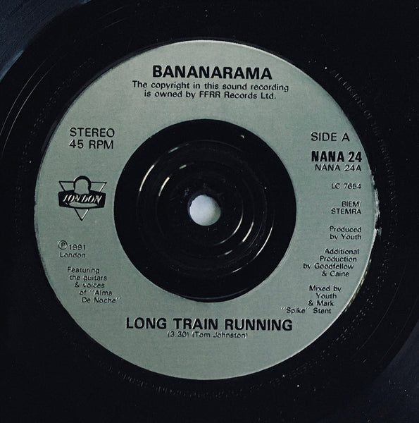 "Bananarama, ""Long Train Running"" Import Single (1991). Silver-injection record labels image. Pop, euro-synth, flamenco. A-side is a collaboration with Gipsy Kings."