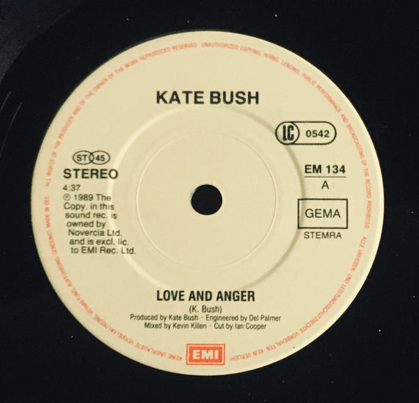 "Kate Bush, ""Love And Anger"" Single Booklet (1990).  Record label sticker image. Pop, dance, progressive, orchestral."