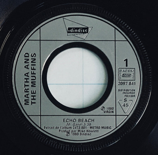 "Martha and the Muffins, ""Echo Beach"" Single (1980). Silver-injection record labels image. Pop, electronic, dance, new wave."