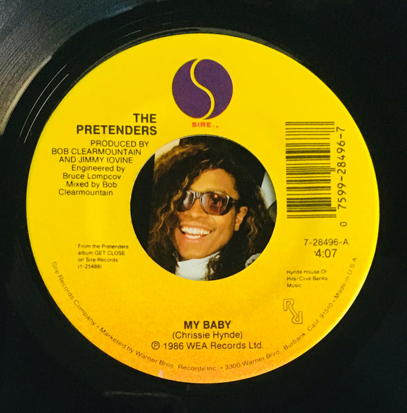 "The Pretenders, ""My Baby"" Single (1987). Record label sticker image. Pop, Modern Rock, Power-Pop."