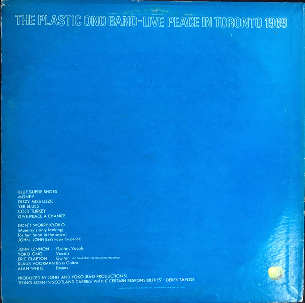 "The Plastic Ono Band ""Live Peace In Toronto 1969"" LP"