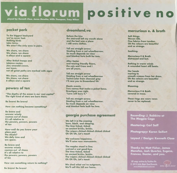"Positive No ""Via Florum"" 12"" EP (2013)"