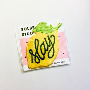 "Lemon ""Slay"" Iron-On Embroidered Patch"