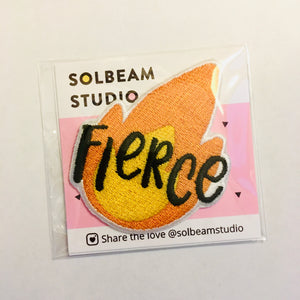 """Fierce"" Flame Emoji Iron-On Embroidered Patch"