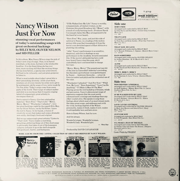 "Nancy Wilson ""Just For Now"" LP (1967)"