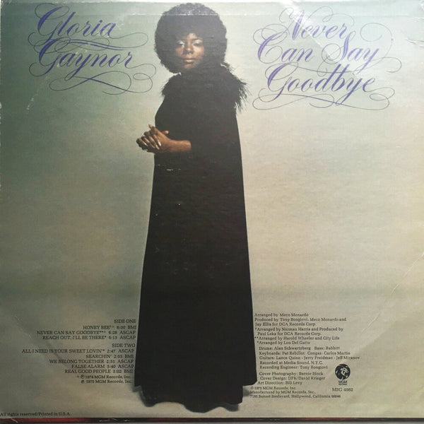 "Gloria Gaynor, ""Never Can Say Goodbye"" LP (1974). Back cover image. Soul, funk, disco."