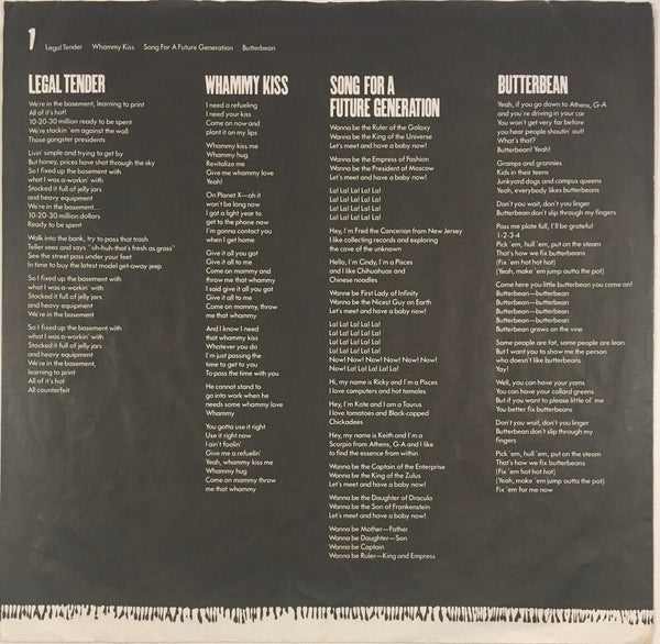"The B-52's, ""Whammy!"" LP (1983). Inner sleeve image. Pop, experimental, pop-rock, alternative rock."