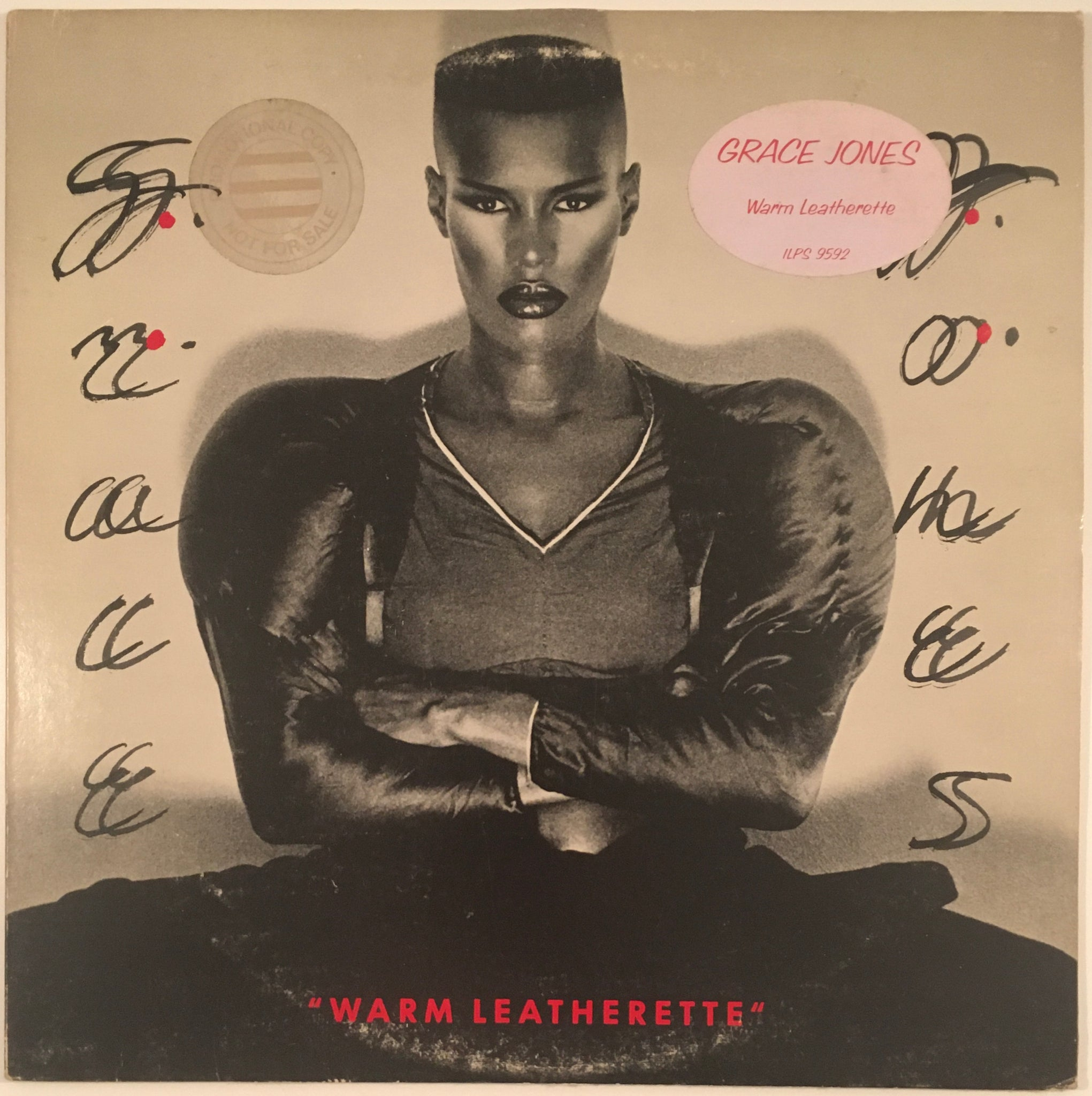"Grace Jones, ""Warm Leatherette"" Promo LP (1980). Front cover image. Original Grace Jones image press and promo copy of Warm Leatherette. Experimental, pop, disco, dance, new wave, punk."