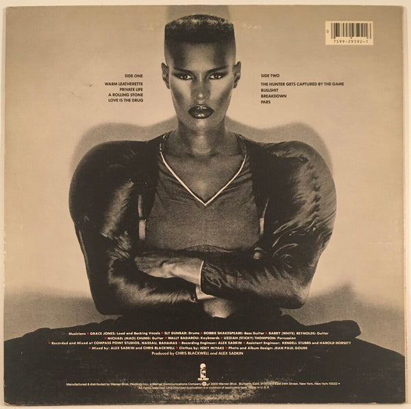 "Grace Jones, ""Warm Leatherette"" Promo LP (1980). Back cover image. Original Grace Jones image press and promo copy of Warm Leatherette. Experimental, pop, disco, dance, new wave, punk."