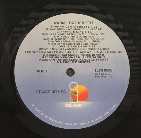 "Grace Jones, ""Warm Leatherette"" Promo LP (1980). Record sticker label image. Original Grace Jones image press and promo copy of Warm Leatherette. Experimental, pop, disco, dance, new wave, punk."