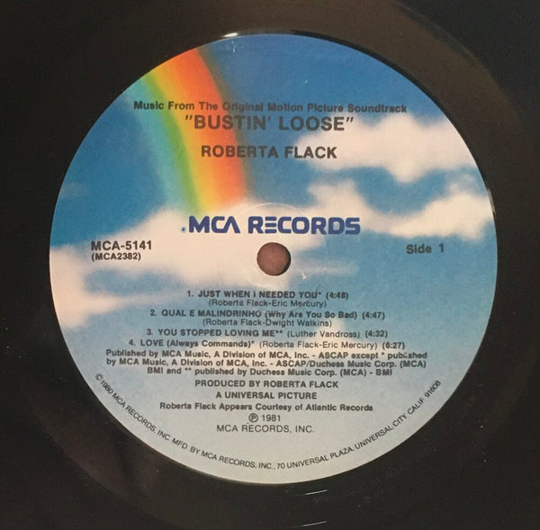 "Roberta Flack, ""Bustin Loose"" Promo LP (1981). Record label sticker image. Promo movie soundtrack, 80's, soul, funk."