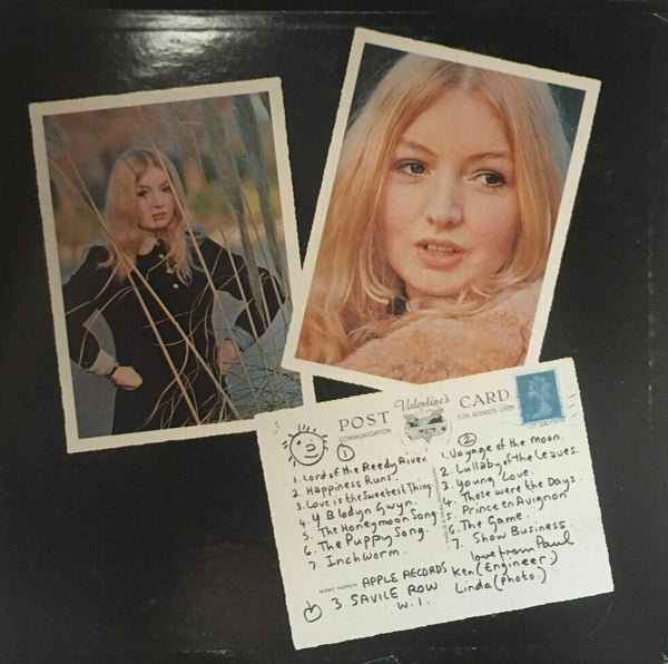 "Mary Hopkin, ""Post Card"" LP (1969). Back cover image. Folk and 60's tinged pop from Apple Records' artist Mary Hopkin."