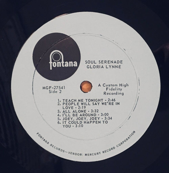 "Gloria Lynne, ""Soul Serenade"" Promo LP (1965). Record label sticker image. Mono. R&B, soul, and jazz, from the late great Gloria Lynne."