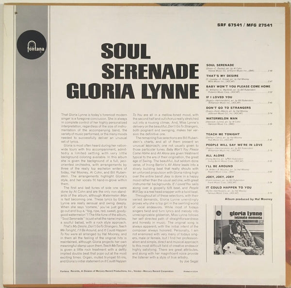 "Gloria Lynne, ""Soul Serenade"" Promo LP (1965). Back cover image. Mono. R&B, soul, and jazz, from the late great Gloria Lynne."