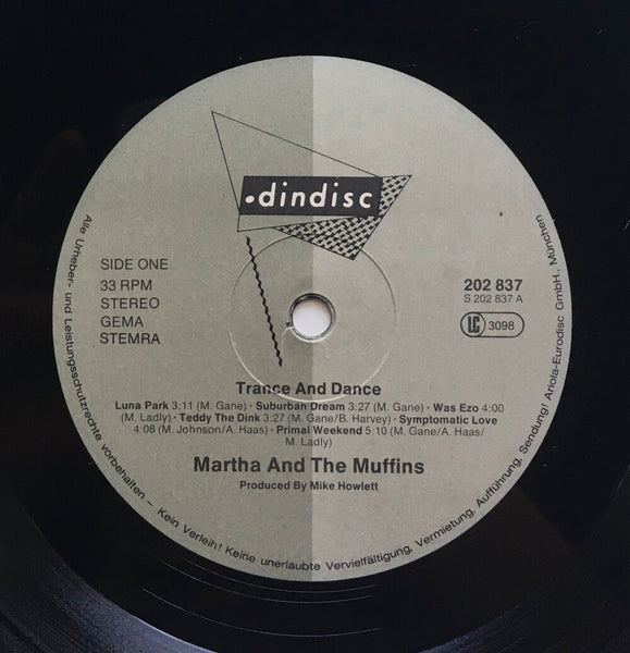 "Martha and the Muffins, ""Trance and Dance"" LP (1980). Record label sticker image. Pop-rock, new wave, no wave, electronic, dance from Canadian group, M + M."