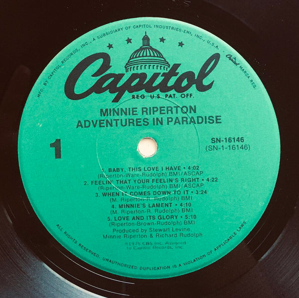 "Minnie Riperton, ""Adventures In Paradise"" LP (1975). Record label sticker image. Soul, pop. Unique press, rare find."