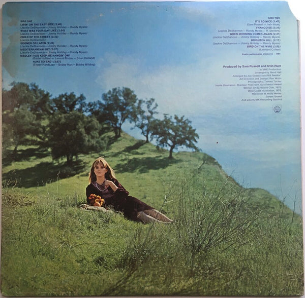 "Jackie DeShannon, ""To Be Free"" LP (1968). Back cover image. Folk, pop, pop-rock, sixties."