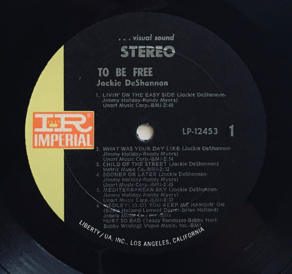 "Jackie DeShannon, ""To Be Free"" LP (1968). Record label sticker image. Folk, pop, pop-rock, sixties."