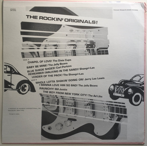 Original Supercharged Rock 'N Roll Hits! Compilation LP (1972). Back cover image. Pickwick Records pop and rock.