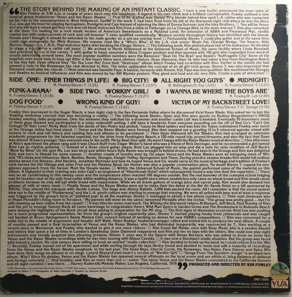 "Venus And The Razorblades, ""Songs From The Sunshine Jungle"" Promo LP (1978). Back cover image. Late 70's LA punk and power-pop."