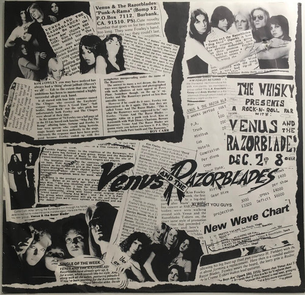 "Venus And The Razorblades, ""Songs From The Sunshine Jungle"" Promo LP (1978). Inner sleeve, back, image. Late 70's LA punk and power-pop."