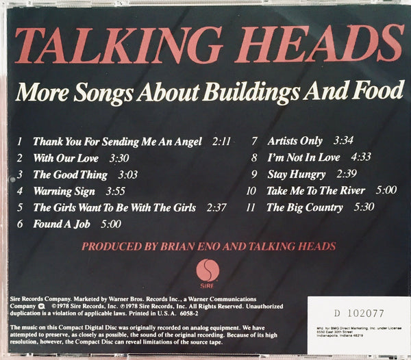 "Talking Heads ""More Songs About Buildings And Food"" CD (1987)"