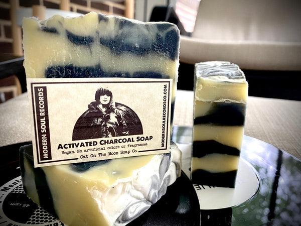 "Vinyl Themed ""Activated Charcoal"" Bar Soap by Cat On The Moon Soap Co."