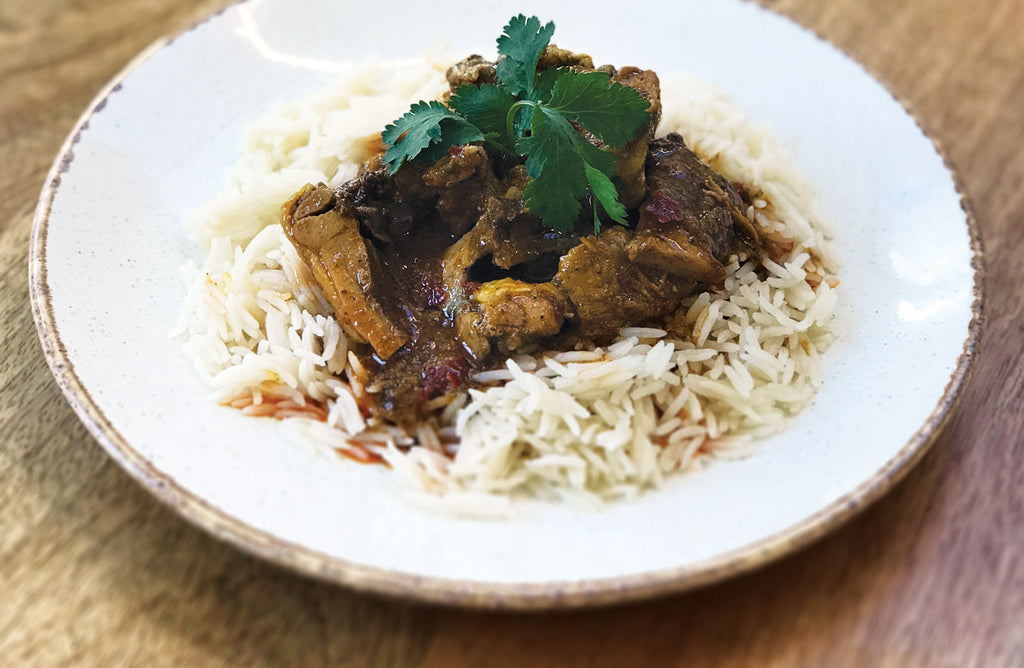 Flat Iron Chicken Curry with Fragrant Basmati Rice