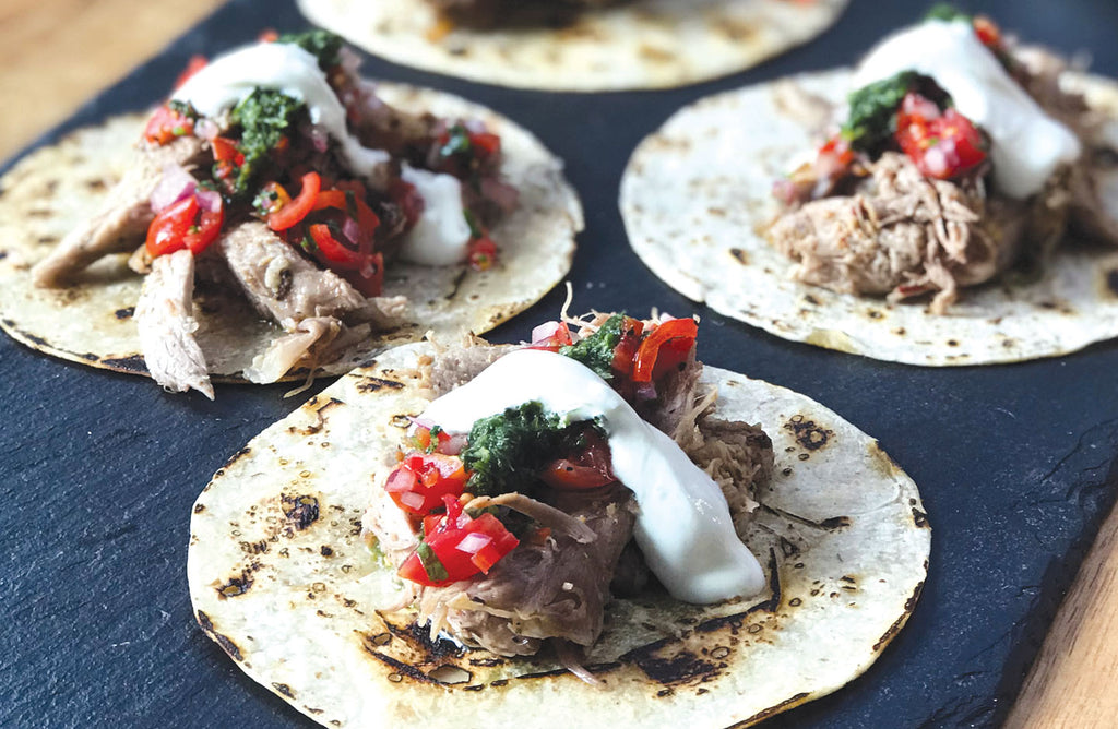 Roast Lamb Tacos with Pico de Gallo & Green Sauce