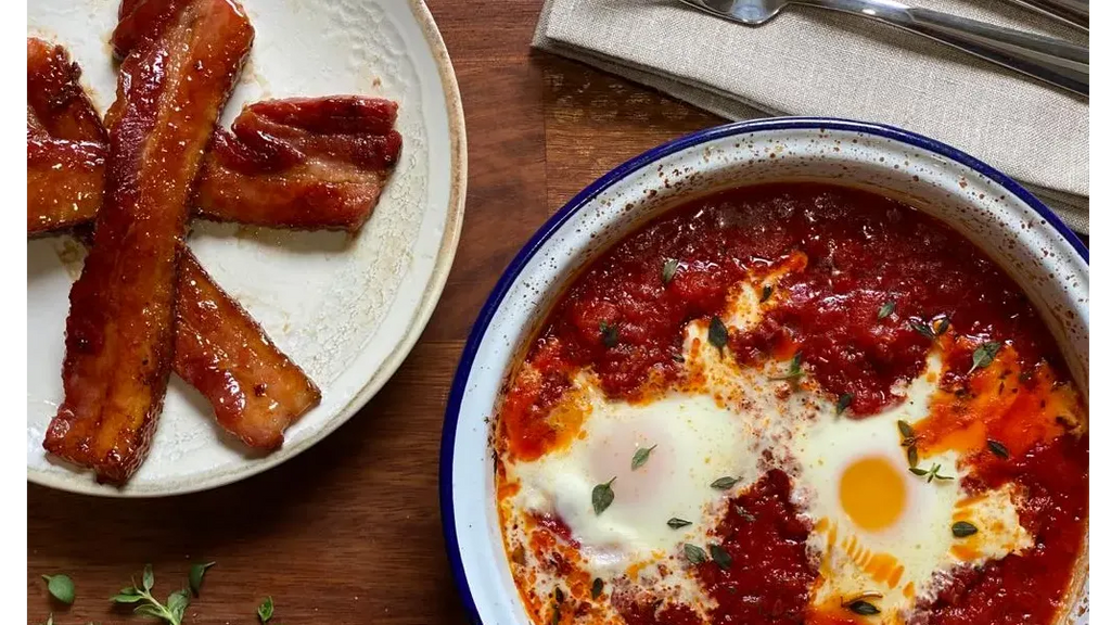 Baked Eggs with Chorizo, Tomato & Maple Bacon
