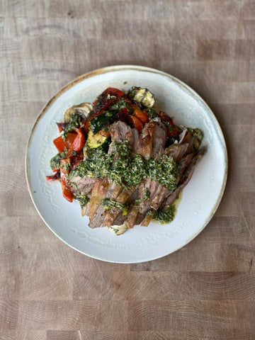 BBQ Lamb with Salsa Verde and Chargrilled Veggies