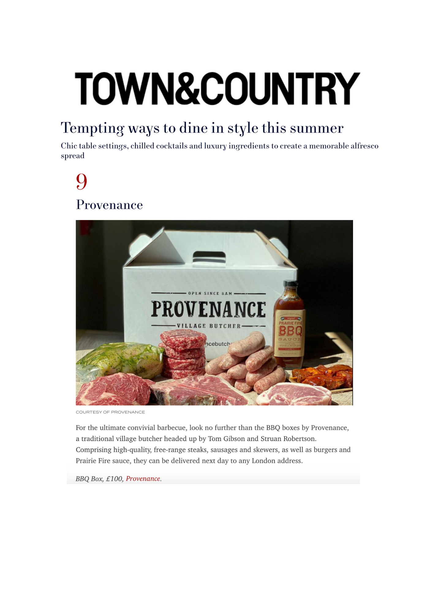 Town & Country Provenance Butcher