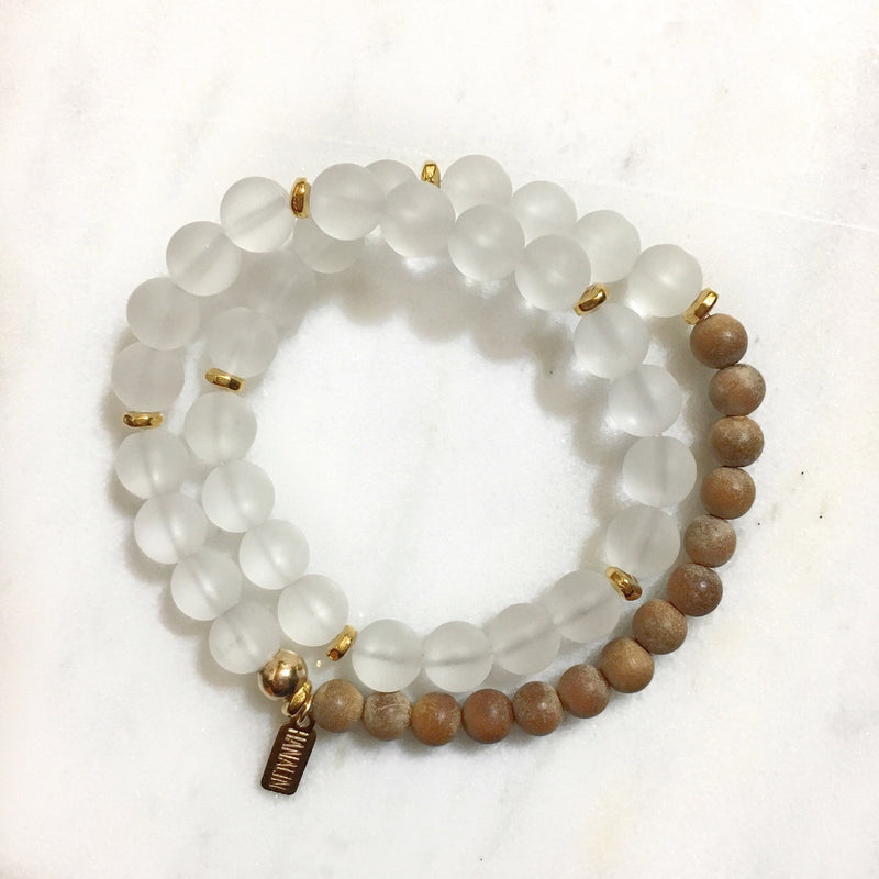 Matte White Quartz|Sandalwood Double Wrap Mala Bracelet