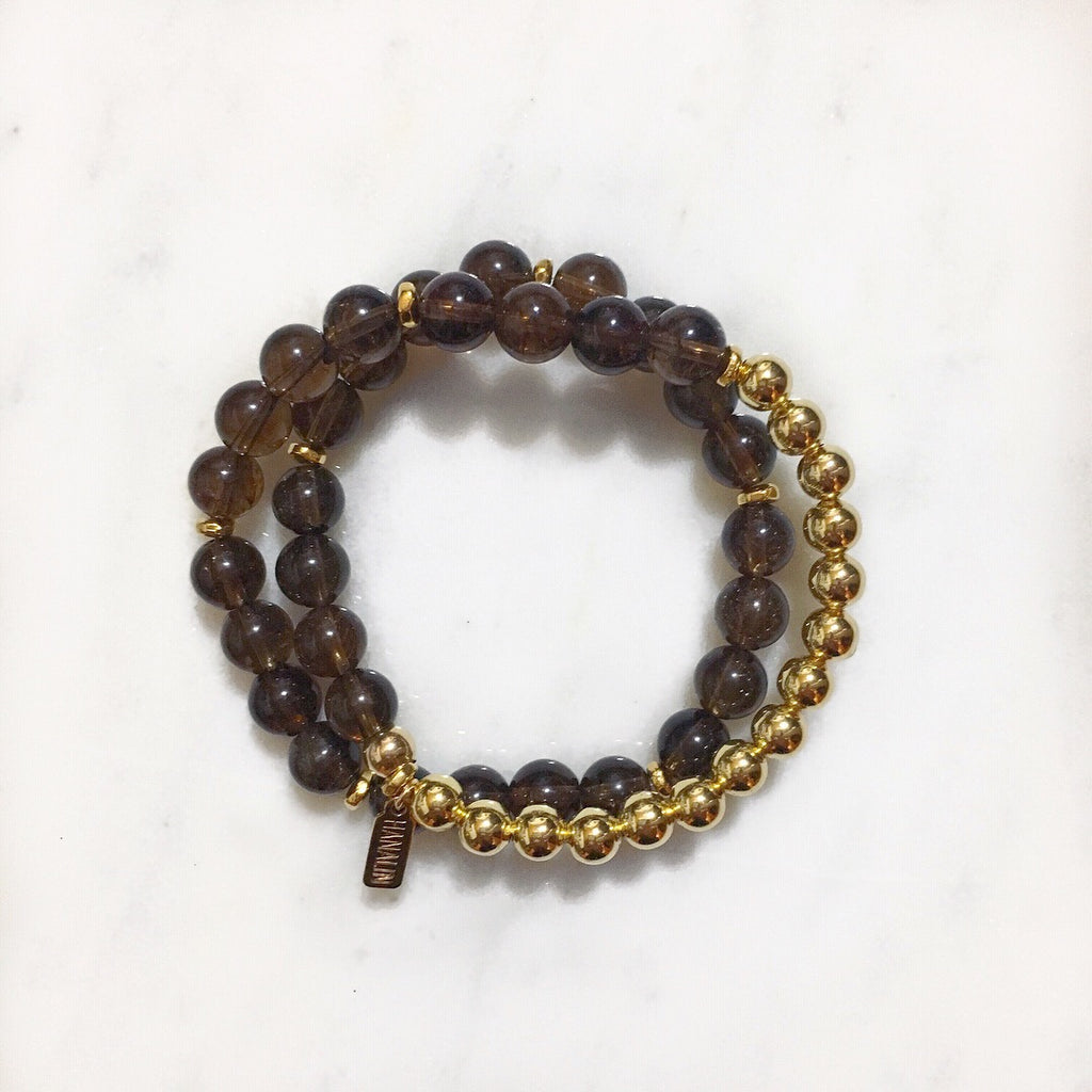 Dark Grey Quartz|14k Gold Double Wrap Mala Bracelet