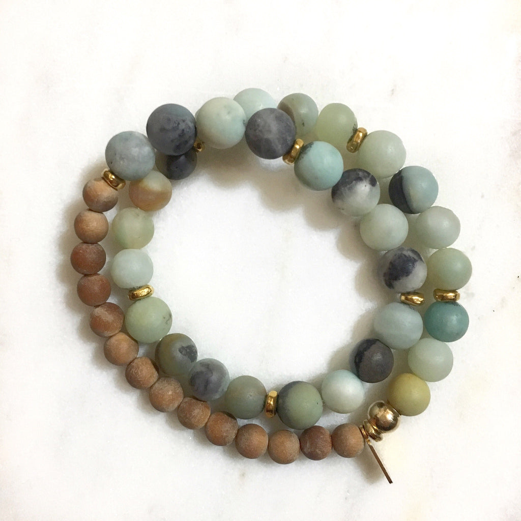 Amazonite|Sandalwood Double Wrap Mala Bracelet