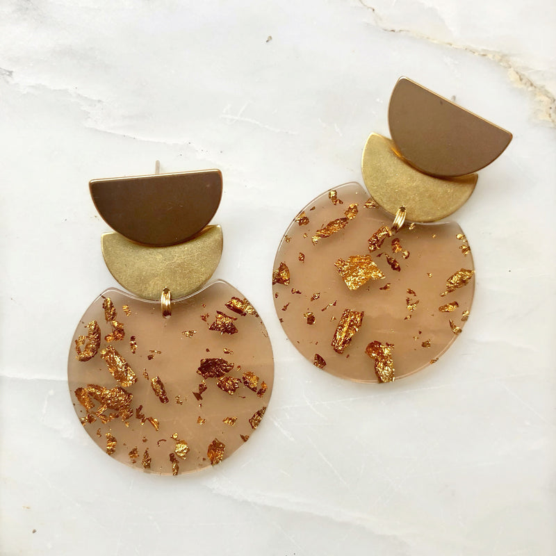 Scalloped Brass & Dusty Rose Earrings