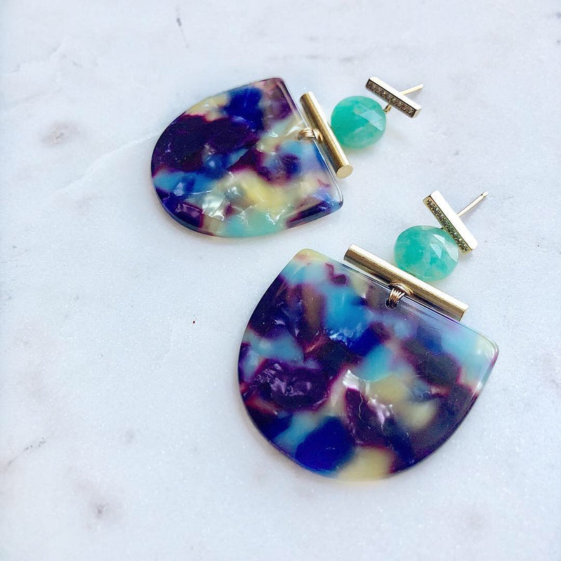 CZ Mezcal Amazonite Earrings
