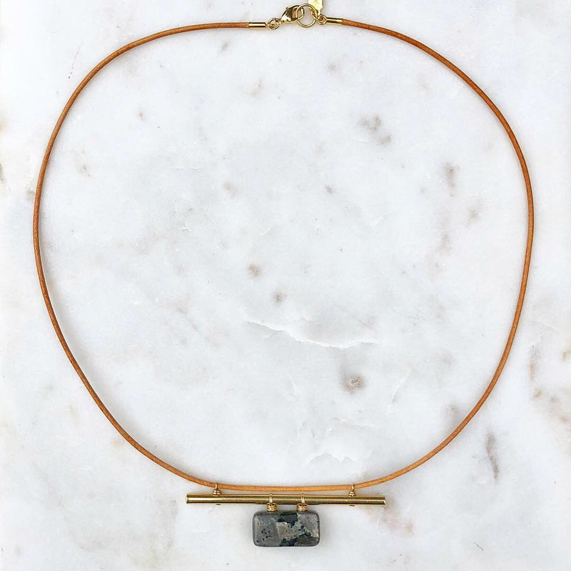 Leather & Stone Collar Necklace