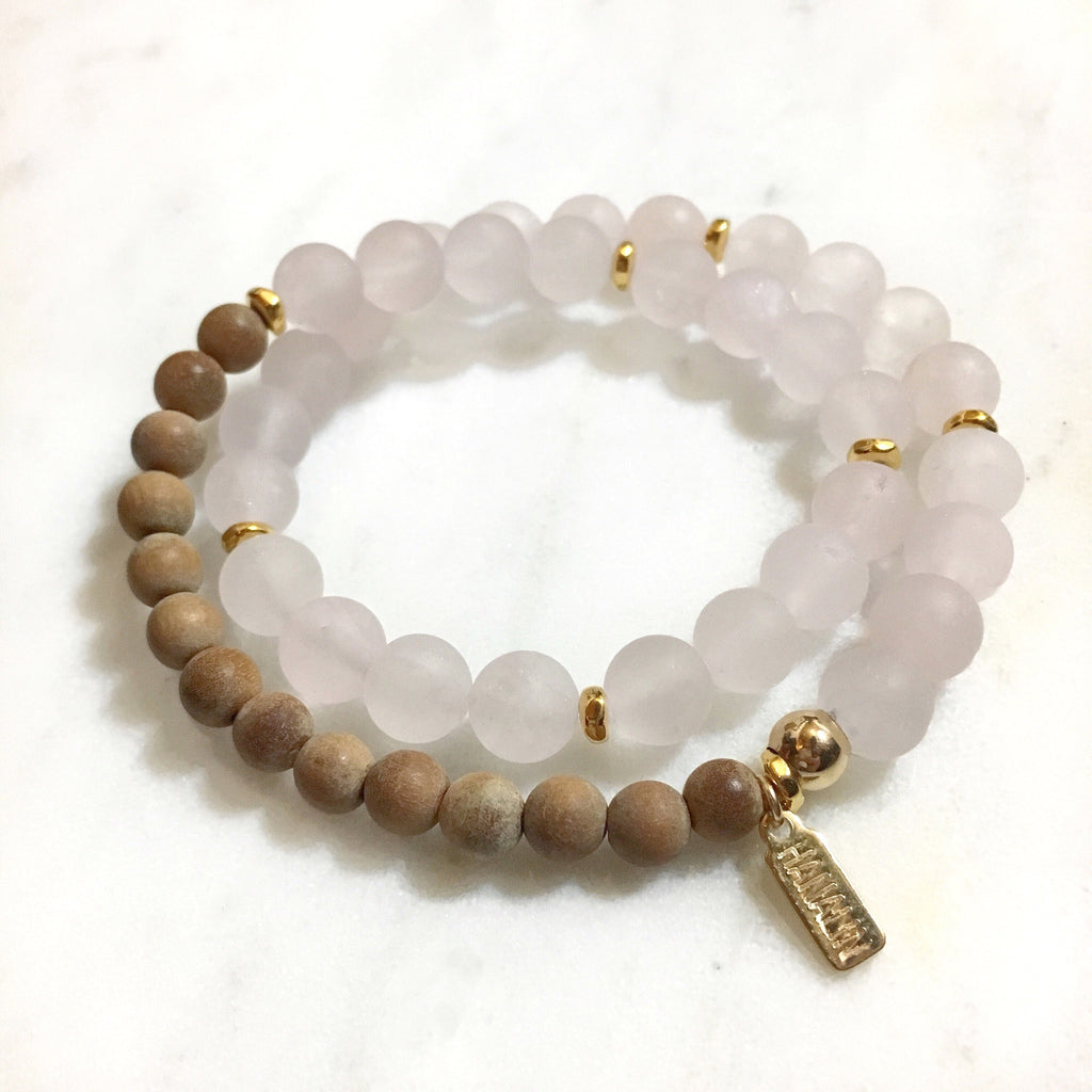Rose Quartz|Sandalwood Double Wrap Mala Bracelet