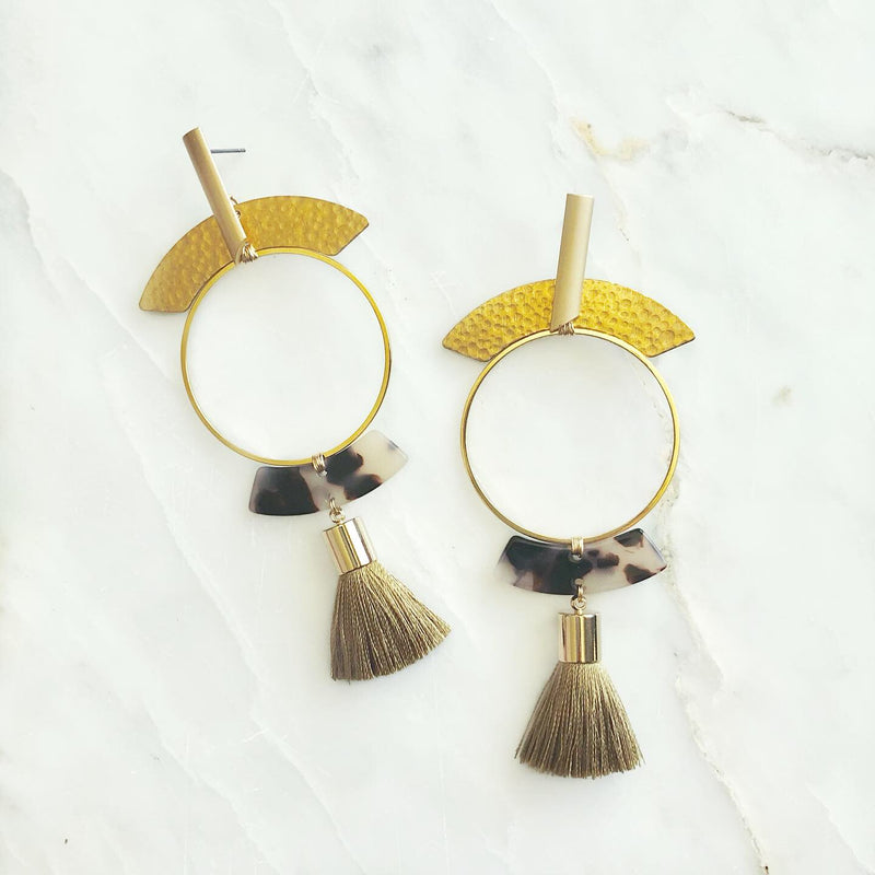 The Go Around In Sage Tassel Earrings