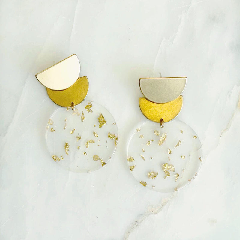 Scalloped Brass & Gold Fleck Earrings